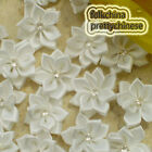 White Polyester Ribbons Floral With Bead Sewing Scrapbooking Appliques JM9B