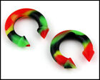 Pair Ear Flexible Soft Silicone Spike Horseshoe Rasta Color Ear PLUGS Gauges