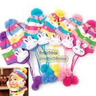 Baby Kids Girls Magic Stripe Dot With Cute Bunny Hat Scarf Set 6mon--6years BHR