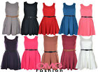 NEW WOMENS LADIES BELTED PLEATED  MINI PARTY SKATER DRESS SIZE 8 10 12 14