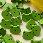 Green Singing Frog Wood Buttons 18mm Sewing Craft Scrapbooking CWB010