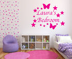 Girls Bedroom Wall Art - Butterflys and Stars with name- Various Colours/Sizes