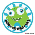 PERSONALISED Monster Birthday Party Sticker Seals Labels | 4 Sizes - 005