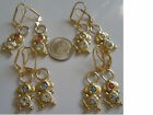 Dog Pink Blue Earrings Clear Gold Plated Leverback Dangle With Swarovski Crystal