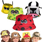 Kids Beach Bush Hat Sun Protection Child Boys Girls Baby Fun Funky Animal Cotton