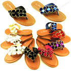 Womens Flower Flip Flops Flat Beach Sandal Gemstone Style Thongs Flats Sandals