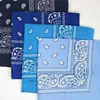"Paisley Cotton Bandana Bandanna 22"" Navy Royal Turquoise Lite Blue"