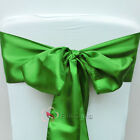 Green Satin Chair Cover Bow Sash Wedding Party Decor Banquet WED-SCS-16