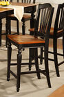 3 CHELSEA WOOD COUNTER HEIGHT STOOL DINING KITCHEN CHAIR IN BLACK & BROWN