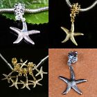 Wholesale Silver Copper Plated 18KGP Starfish Loose Charms European Dangle Beads