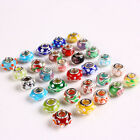 Wholesale10x15mm Mix Lampwork Glass Rondelle Charms European Big Hole 5mm Beads