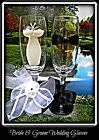 Bride and Groom Wedding Wine Champagne Glasses Bridesmaid Flutes Hand Painted