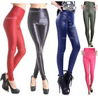 UK SHIP*WOMENS LEATHER Wet LOOK HIGH WAISTED JEGGINGS/LEGGINGS Pants SIZE M 8-12