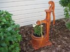Amish Wooden Garden Planter Water Hand Pump Flower Pot Yard Decor Planter Wood