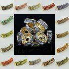 WHOLESALE LOTS CRYSTAL STRAIGHT EDGE GOLD SPACER BEADS JEWELRY FINDINGS 10MM