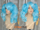 Aqua Blue Lolita Cosplay Party Wig w/ 50cm Curly Ponytails