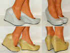 WOMENS SILVER PLATFORM GLITTER SHIMMER SPARKLY HIGH WEDGES SHOES SIZES HEELS 3-8
