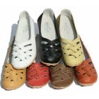 US5-9 soft Leather Casual Slip On womens flat ballet ballerina walking Shoes