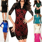Women Lace Dress Scalloped V-Neck Ladies Sexy Slim 3/4 Sleeve Cocktail Dress New