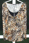 CABLE & GAUGE BROWN BLACK KNIT SPANDEX LONG SLEEVE FAUX TANK BLOUSE 1X 2X 3X NEW