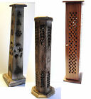 Hand Carved Wooden UPRIGHT INCENSE Holder Burner Ash Catcher Box LIGHT DARK WOOD