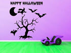HAUNTED TREE WITH HALLOWEEN WITCH / BAT / GHOST WORDING WALL ART Various Sizes
