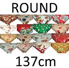 Christmas Wipe Clean Tablecloth Vinyl PVC Oilcloth Xmas - 137cm Round
