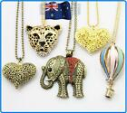 1x Retro Fashion Vintage Animals Balloon Ruby Heart Pendant Coat Chain Necklace