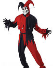 Evil Jester Joker Red and Black Adult Mens Outfit Halloween Costume