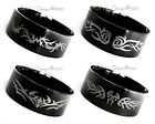 GLOSSY BLACK TRIBAL TATTOO DESIGN / STAINLESS STEEL RING / MENS LADIES BAND