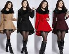 c05 Womens Winter Noble Woolen Belted Fur Collar Jacket Coat 6 8 10 12