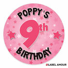 Personalised Birthday Stickers Labels | Select name, age and colour | 3 sizes