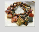 Natural 6-20mm Multicolor Picasso Jasper Round & Coins Beads Necklace