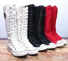 Women Girl Punk Rock Gothic Canvas Shoe Sneaker Knee High Zip Lace Up