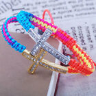 clear crystal gold silver tone cross connector bracelet multicolor cord string