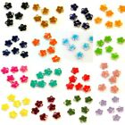 Lot of 6 Little Tiny Epoxy Colored Silver Flower Shaped Drop Bead Charms