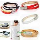 Stylish Fashion Rhinestone Shiny PU Leather Waistband Ladies Thin Belt