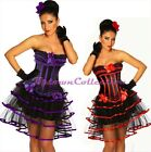 Burlesque Moulin Rouge Party Club Costume Black Purple Red Corset & Lined Skirt