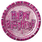 Pink Glitz Happy Birthday Party Items Plates Table cover Napkins Banner
