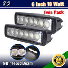 2PCS 6INCH 18W SLIM SPOT/FLOOD DRIVING OFFROAD FOG WORK LIGHT BAR WD-36W/126W