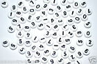 100pcs white disc/flat round beads mixed & single number 0-9 by 1st class