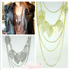 1 Pc Fashion Multilayer Long Chain Leaves Necklace Fashion Necklace 3 Colors
