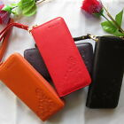 Womens Genuine Leather Hand Bag Long Clutch Zipper around Wallet Case Purse 1005