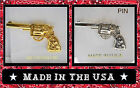 Choice Gold Silver OLD WEST COLT REVOLVER 6 SHOOTER LAPEL HAT PIN Cowboy Jewelry