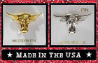 Choice Gold Silver OLD WEST TEXAS LONGHORN CATTLE LAPEL HAT PIN Western Jewelry
