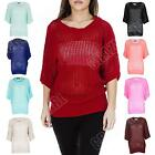Ladies Womens Fishnet Mesh Knitted Batwing Jumper Top size S M L XL 8 10 12 14