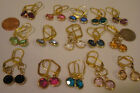 Earrings Medium Circles 16 Colors Leverback Dangle With Swarovski Crystals