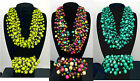 Bali 15 Double Strand Wood Bead Macrame Statement Necklace Bracelet Set