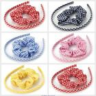 GIRLS SCHOOL HAIR GINGHAM HAIRBAND & SCRUNCHIE 2pc SET RED BLUE PINK NAVY YELLOW