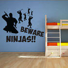 Beware Ninjas Silhouette Wall Art Design - Martial Art Themed - Various Colours
